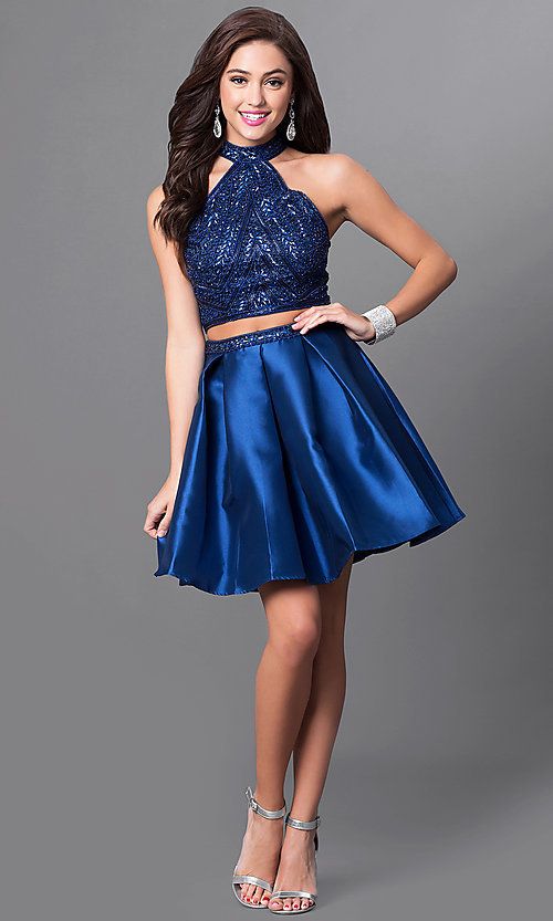 Image of two-piece short navy blue homecoming dress. Style: MF-E2075 Detail Image 1