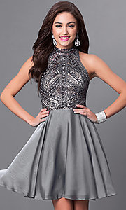 Image of short silver sleeveless designer homecoming dress. Style: MF-E2077 Front Image