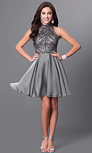 Image of short silver sleeveless designer homecoming dress. Style: MF-E2077 Detail Image 1