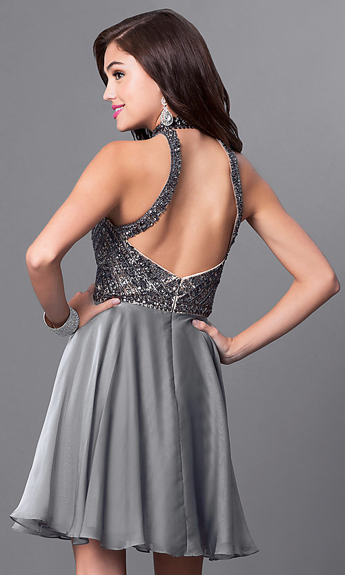 Image of short silver sleeveless designer homecoming dress. Style: MF-E2077 Back Image