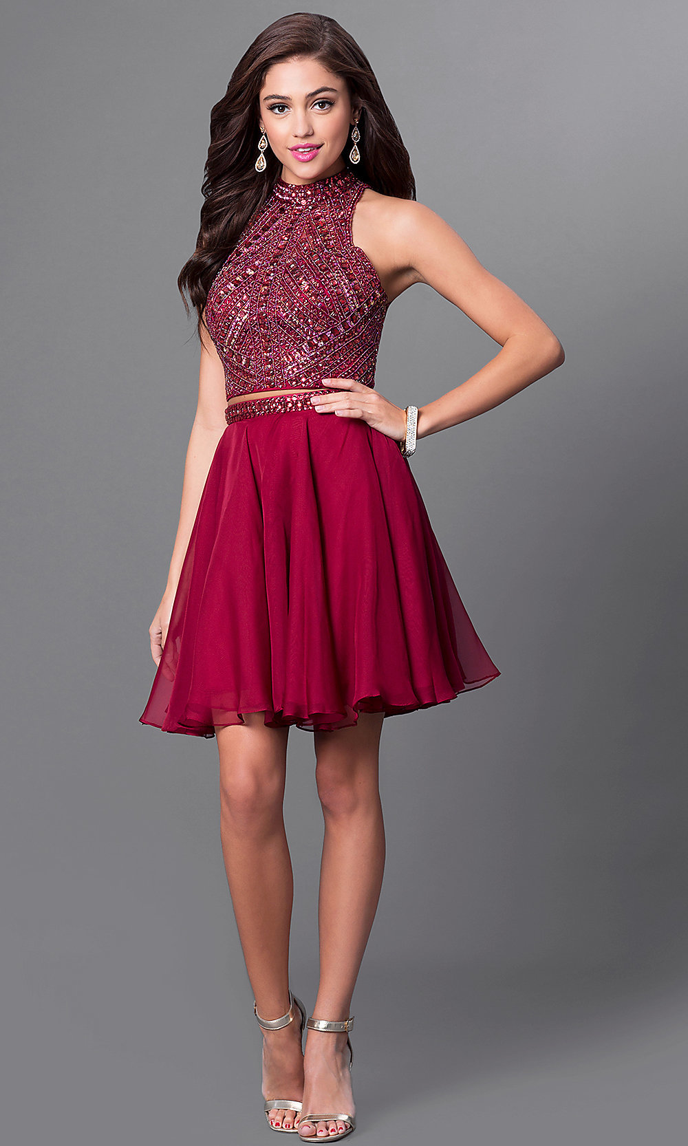 Burgundy Red Homecoming TwoPiece Dress PromGirl