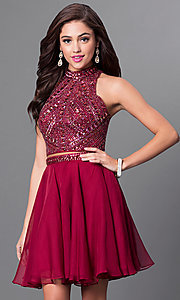 Image of burgundy two-piece homecoming dress with open back. Style: MF-E2078 Front Image