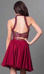 Image of burgundy two-piece homecoming dress with open back. Style: MF-E2078 Back Image