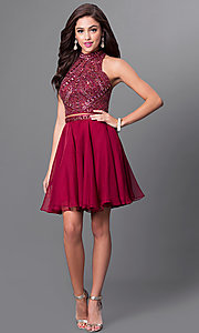 Image of burgundy two-piece homecoming dress with open back. Style: MF-E2078 Detail Image 1