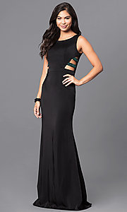 Scoop-Neck Black Long Formal Dress