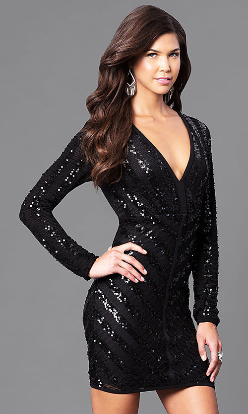 Image of black sequin homecoming dress with long sleeves. Style: CQ-4518DK Front Image