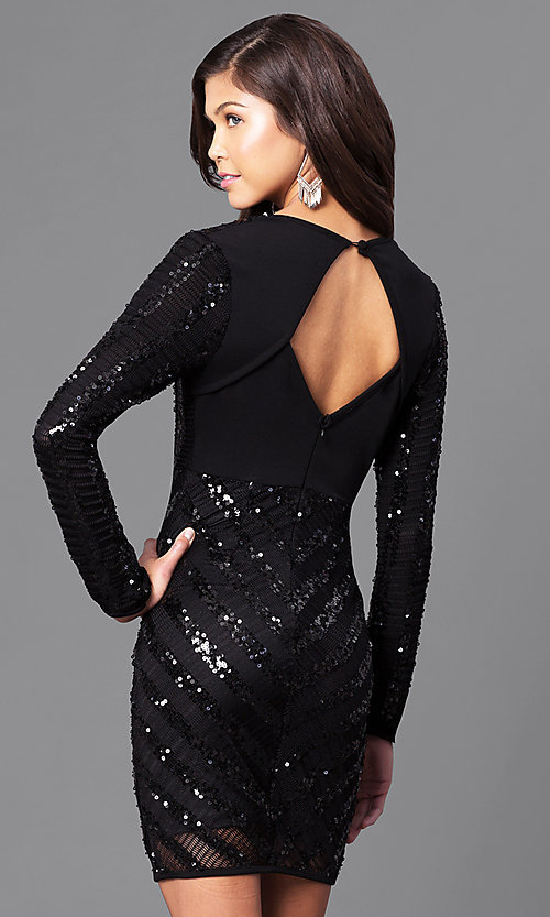 Image of black sequin homecoming dress with long sleeves. Style: CQ-4518DK Back Image
