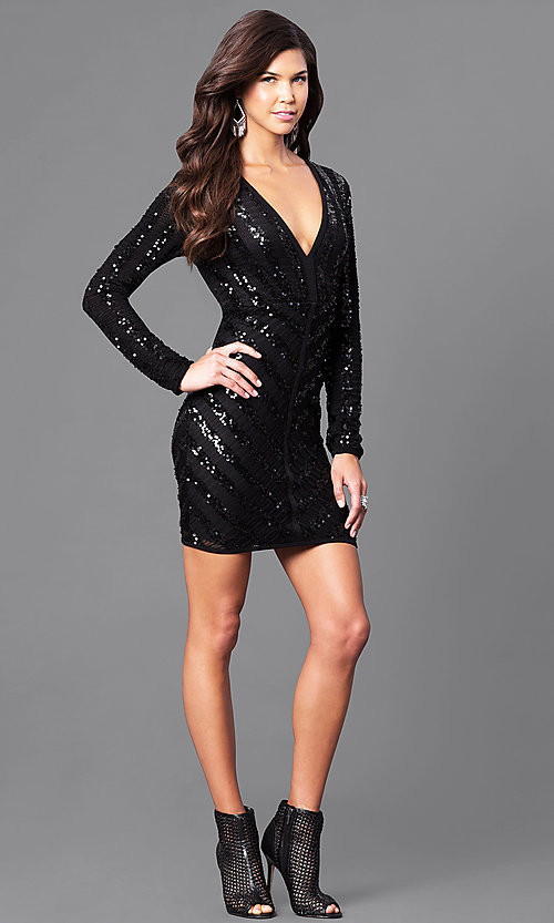 Image of black sequin homecoming dress with long sleeves. Style: CQ-4518DK Detail Image 1
