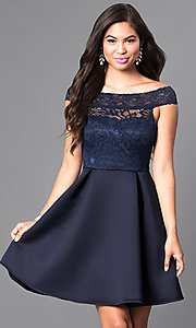 Image of navy off-the-shoulder lace-bodice homecoming dress. Style: CL-44501 Front Image