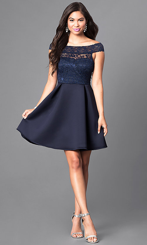 Image of navy off-the-shoulder lace-bodice homecoming dress. Style: CL-44501 Detail Image 1