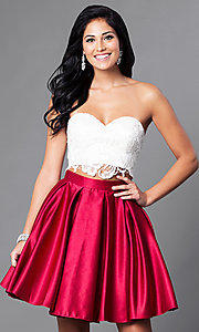 Image of short two-piece Dave & Johnny homecoming dress. Style: DJ-A4895 Front Image