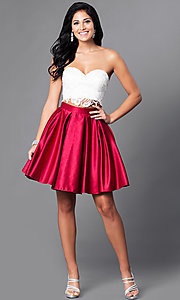 Image of short two-piece Dave & Johnny homecoming dress. Style: DJ-A4895 Detail Image 1