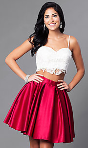 Image of short two-piece Dave & Johnny homecoming dress. Style: DJ-A4895 Detail Image 2