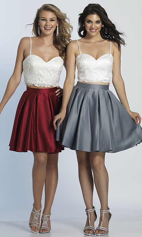 Image of short two-piece Dave & Johnny homecoming dress. Style: DJ-A4895 Detail Image 3