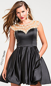 Fit and Flare Sheer Back Party Dress