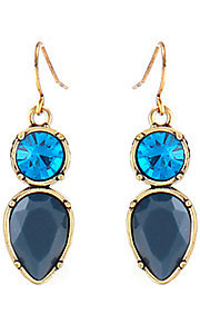 Blue Geometric Crystal Earrings