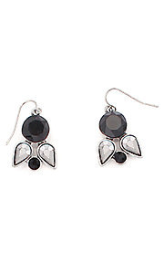 Geometric Crystal Black and Silver Earrings