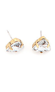 Crystal Triangle Gold and Clear Studs