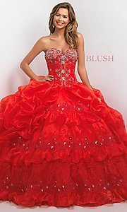 Strapless Blush Quinceanera Dress with Bolero