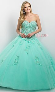 Strapless Long Corset Back Quinceanera Dress
