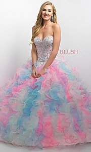 Long Ruffled Tulle Quinceanera Dress