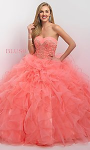 Tulle Long Strapless Sweetheart Quinceanera Dress