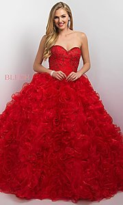 Strapless Organza Long Quinceanera Dress