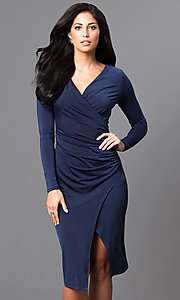 Knee-Length Long-Sleeve Ruched Mock-Wrap Party Dress