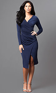 Image of knee-length long-sleeve ruched mock-wrap party dress. Style: MB-7107 Detail Image 1