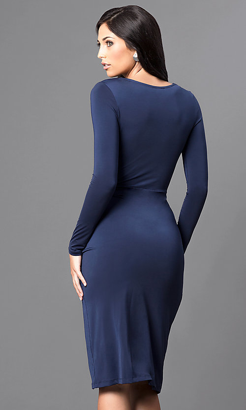 Image of knee-length long-sleeve ruched mock-wrap party dress. Style: MB-7107 Back Image
