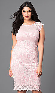 Plus-Size Lace Cap Sleeve Party Dress