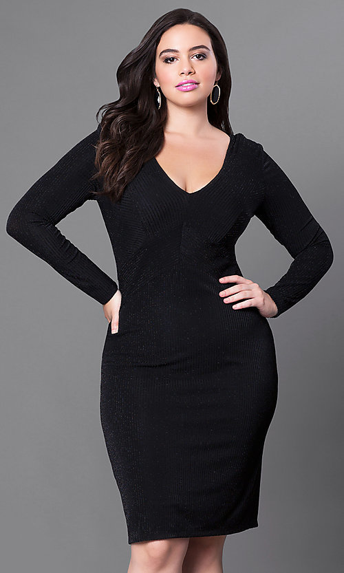 Image of plus-sized knee-length party dress with sleeves. Style: MB-MX1338 Detail Image 1