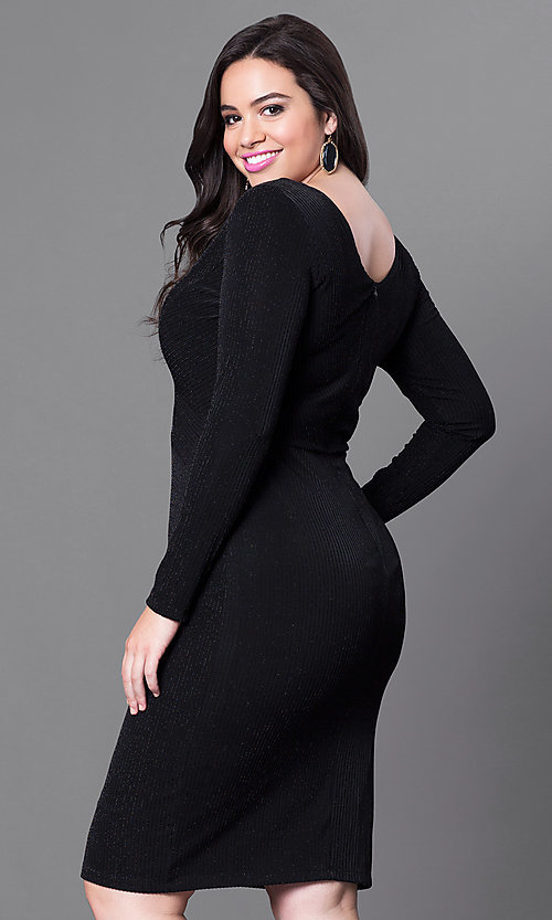 Image of plus-sized knee-length party dress with sleeves. Style: MB-MX1338 Back Image