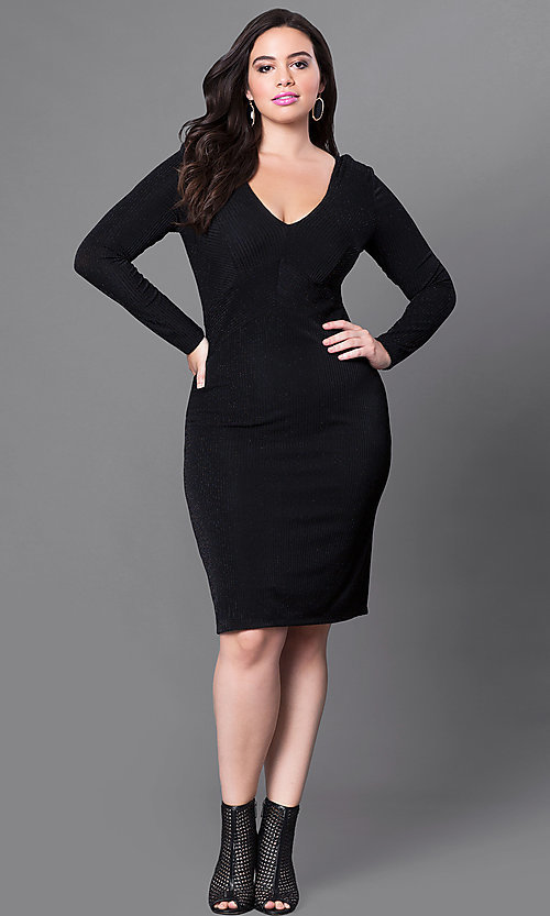 Image of plus-sized knee-length party dress with sleeves. Style: MB-MX1338 Detail Image 2