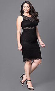 Image of lace short sleeveless plus party dress with sheer waist. Style: MB-MX1349 Detail Image 1