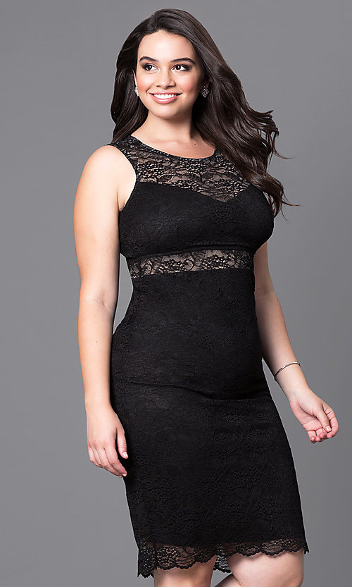 Image of lace short sleeveless plus party dress with sheer waist. Style: MB-MX1349 Front Image