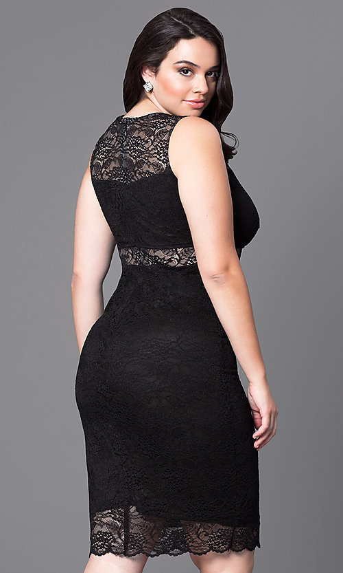 Image of lace short sleeveless plus party dress with sheer waist. Style: MB-MX1349 Back Image
