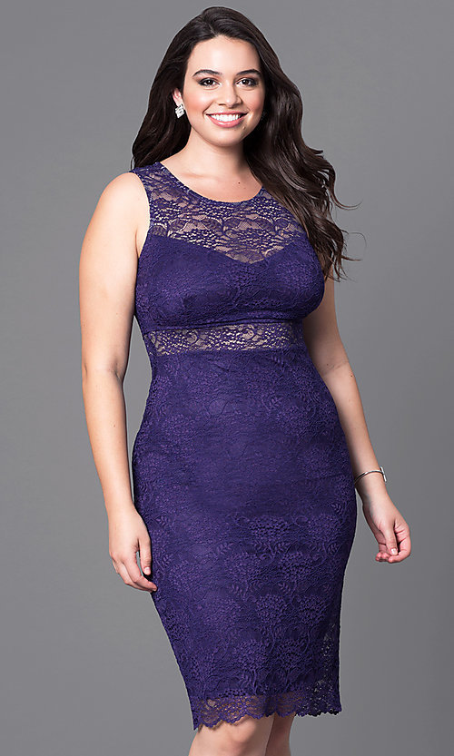 Image of lace short sleeveless plus party dress with sheer waist. Style: MB-MX1349 Detail Image 3