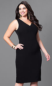 Image of semi-formal plus-size v-neck sheath dress. Style: MB-MX1345 Detail Image 1