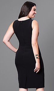 Image of semi-formal plus-size v-neck sheath dress. Style: MB-MX1345 Back Image
