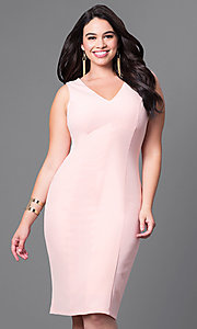 Semi-Formal Plus-Size V-Neck Sheath Dress