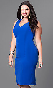 Image of semi-formal plus-size v-neck sheath dress. Style: MB-MX1345 Detail Image 3