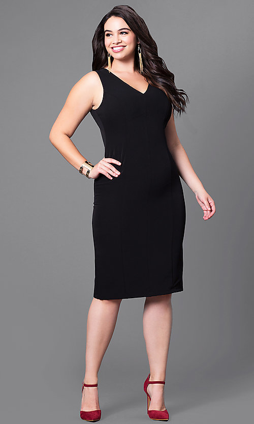 Image of semi-formal plus-size v-neck sheath dress. Style: MB-MX1345 Detail Image 2