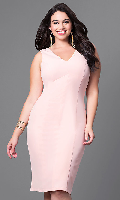 Image of semi-formal plus-size v-neck sheath dress. Style: MB-MX1345 Front Image