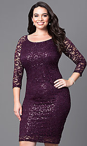Lace Knee-Length Plus Dress with Three-Quarter Sleeves