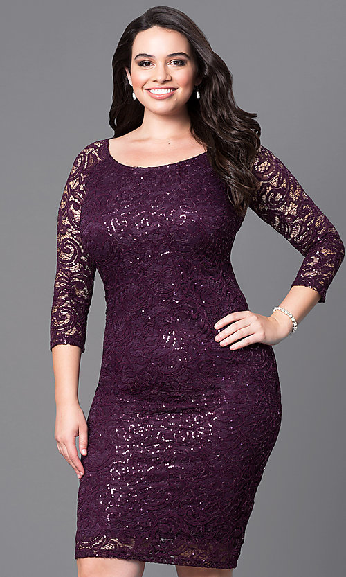Image of lace knee-length plus dress with three-quarter sleeves. Style: MB-MX1351 Front Image