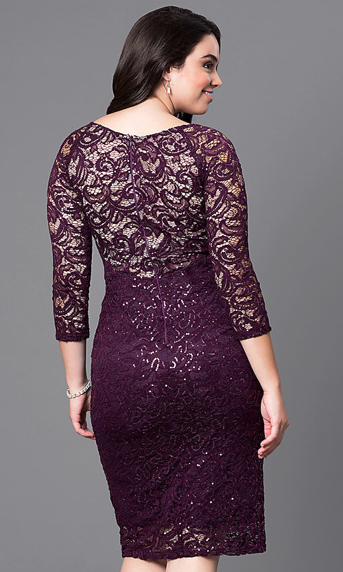 Image of lace knee-length plus dress with three-quarter sleeves. Style: MB-MX1351 Back Image