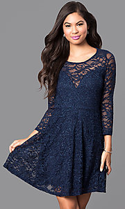 Image of three-quarter sleeve lace a-line homecoming dress. Style: EM-EBD-1420-430 Front Image