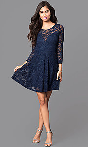 Image of three-quarter sleeve lace a-line homecoming dress. Style: EM-EBD-1420-430 Detail Image 1