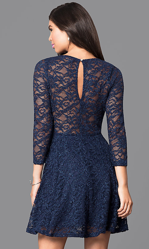 Image of three-quarter sleeve lace a-line homecoming dress. Style: EM-EBD-1420-430 Back Image